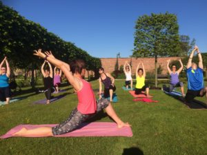 Yoga in the walked garden